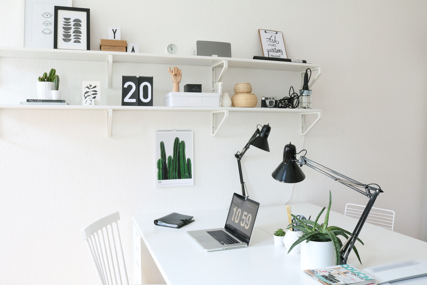 Home Office Styling Offenes Regal Weiss 4